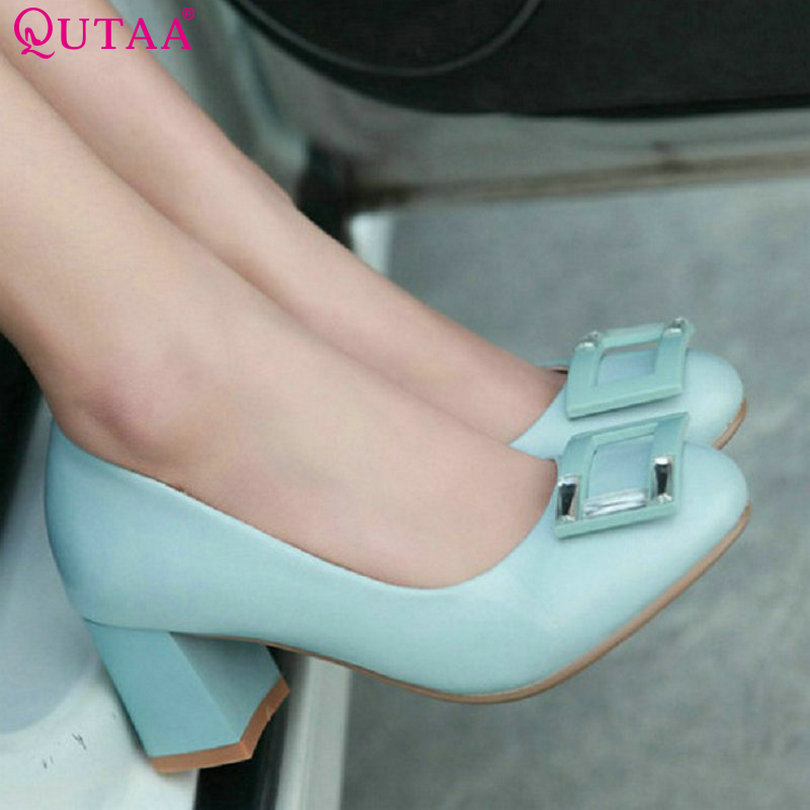QUTAA 2015 New Design Women Chunky Heel Shoes round toe Pumps high Heels Casual Pump Shoes 2015 Size 34-43<br><br>Aliexpress