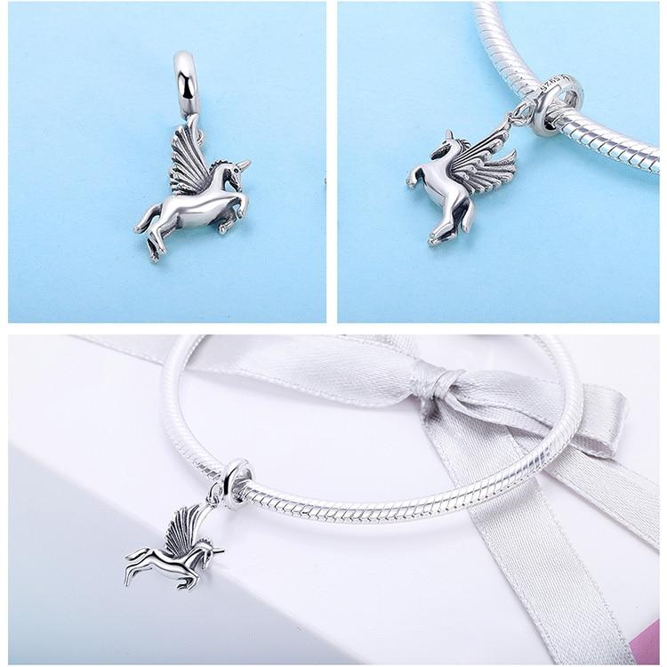 Genuine 925 Sterling Silver Unicorn Beads