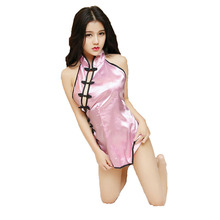 2017 Sexy Lingerie Women Cheongsam Transparent Chinese Costumes Cosplay Qipao Uniform Backless Retro Dress Sleepwear Chi Pao