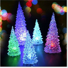 2PC LED Christmas Tree Colorful Night Lamp Christmas Decoration Supplies lighted Acrylic Tree Nightlight Craft Gift Ornament