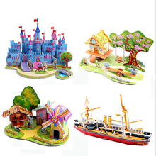 fashion Children Houses Puzzle 3D DIY Puzzle Jigsaw Baby toy Kid Early learning Castle Construction pattern gift(China)