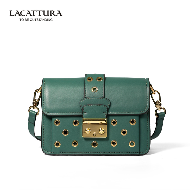 Hollow Out Rivet Flap Messenger Women Bag Fashion Style Shoulder Bag for Ladies LACATTURA Genuine Leather Bags<br><br>Aliexpress
