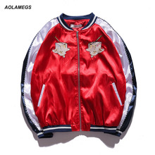 Aolamegs Men Women Japan Yokosuka Jacket Bread Milk Bird Embroidery Fashion Vintage Baseball Uniform Kanye West Bomber Jackets