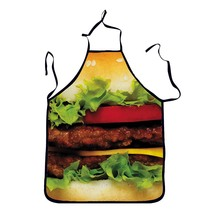 1Pcs Hamburger Printed Adult Apron Bibs Home Cooking Baking Party Funny Cleaning Aprons Kitchen Accessories Gift 46073