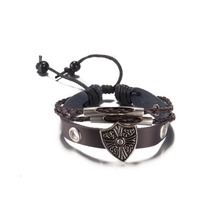 Vintage Design Alloy Shield Cross Leather Bracelet Men And Women bangles Christmas Gifts Party Style Good Quality Low Price