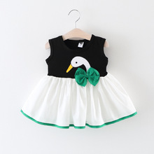 Baby Girls Wedding Birthday Princess Dress Children printing Vestido Puffy SWan Cute Bow Dress Girl Clothing(China)