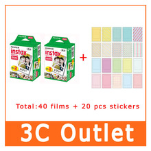 Original Instax Film 40 Sheets+20 Sheets Sticker , For Instant Mini 7s 8 25 50s 90 70 White Edge 3 Inch Film , Free Shipping