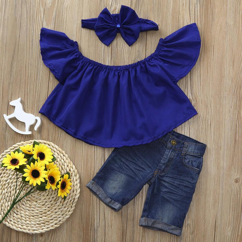 3PCS Toddler Baby Girl Floral Blouse Shirt Tops+Jeans Shorts Pants+Headband Gift