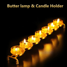 The Buddhist temple seven alloy lamp frame stainless steel butter lamp holder candlestick buddha candleholder ghee candler rack