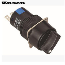 Zusen 16mm round plastic selector switch 2 position fixed 1NO1NC