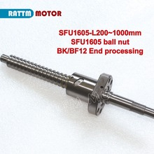 With nut 16mm 1605 Ball Screw Rolled C7 -L200/300/350/400/500/600/650/700/800mm... BK/BF12 End processing for ruter machine part(China)