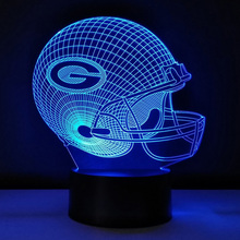 3D Visualization Night Lights Green Bay Packers Football Helmet Desk Lamp Team Logo Color Changeable Luminous Sport Cap Lampe(China)