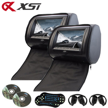 XST 2PCS 9 Inch Car Headrest DVD Player Monitor Digital TFT LCD Screen with USB/SD/IR/FM Transmitter/Speaker/Game Remote Control