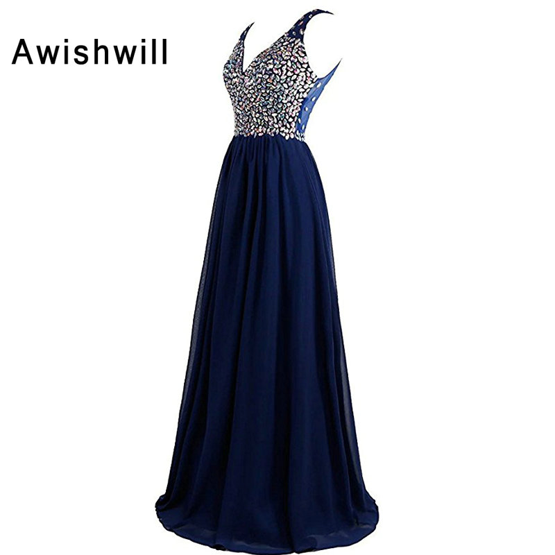 New Fashion A-Line V-neck Floor Length Chiffon With Beads Long Evening Dresses 2019 Sleeveless Sexy Party Prom Dresses Open Back