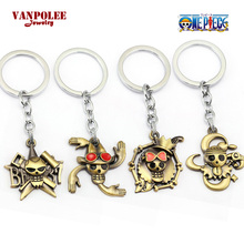 ONE PIECE Wanted Poster Pendant Keychain for Fans Hot Anime Straw Hat Pirates Group Usopp Nami Robin Skeleton Pendant Key Ring