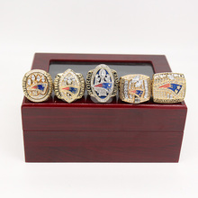 2017 Latest official Drop Ship 5 pcs/set 2001 2003 2004 2014 2016 New England Patriots Super Bowl Championship Rings for man(China)