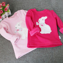 Winter Girls T-shirt Kids Tops Blouse Tees Velvet  Loose Cute Rabbit Bottoming Shirts Long Sleeve Children Clothes for 1-4years