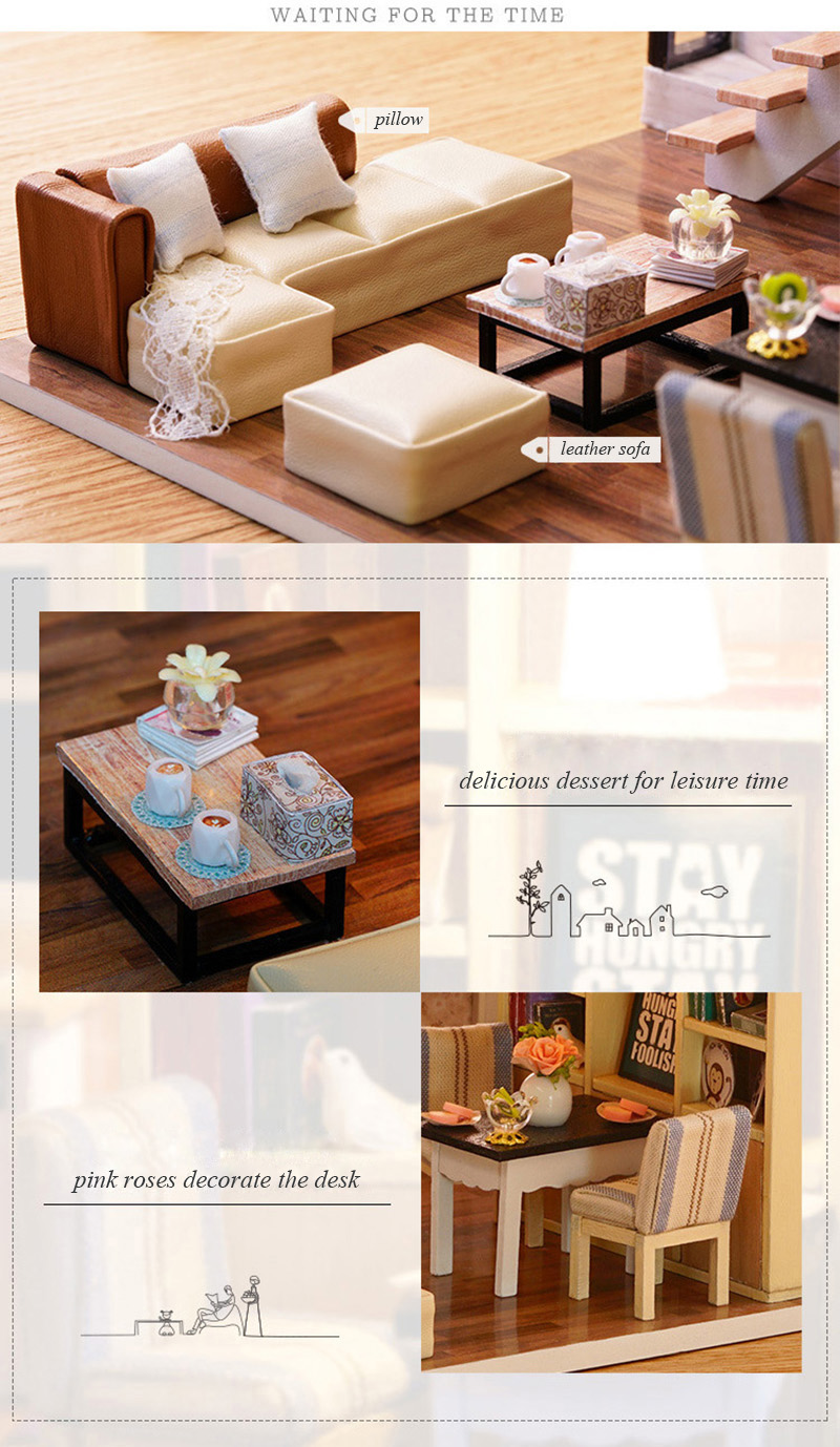 Wooden Miniature DIY Doll House Toy Assemble Kits 3D Miniature Dollhouse Toys With Furniture Lights for Birthday Gift L020 - Waiting Time (5)