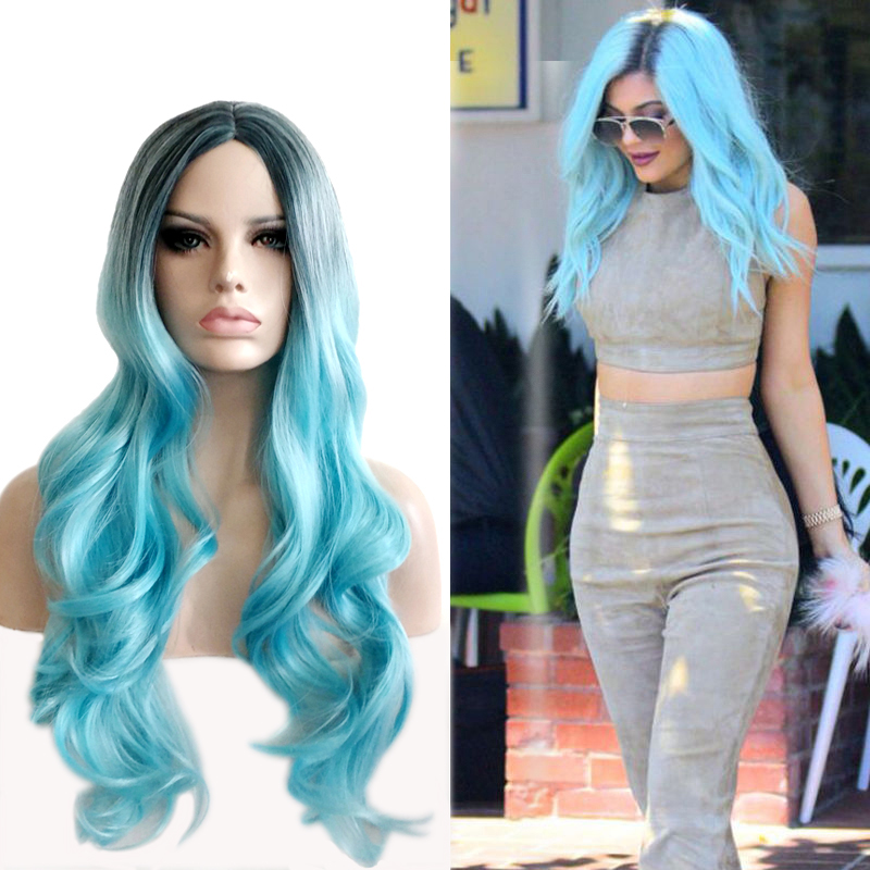 75cm Women Festival Central Parting Wig/Long Body Wave Ombre Black to Aqua Blue Hair Wig<br><br>Aliexpress