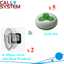 Service paging system,sample set,5pcs of table bell and 2 pcs of wrist watch reciever(China)