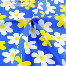 1 meter x 145 cm wide blue flower Printed cotton fabric kids fashion design garment sewing material quilting patchwork(China)