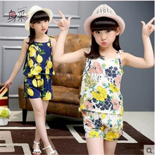 Girls clothing set Kitty summer suit vest +pants two piece sets(China)