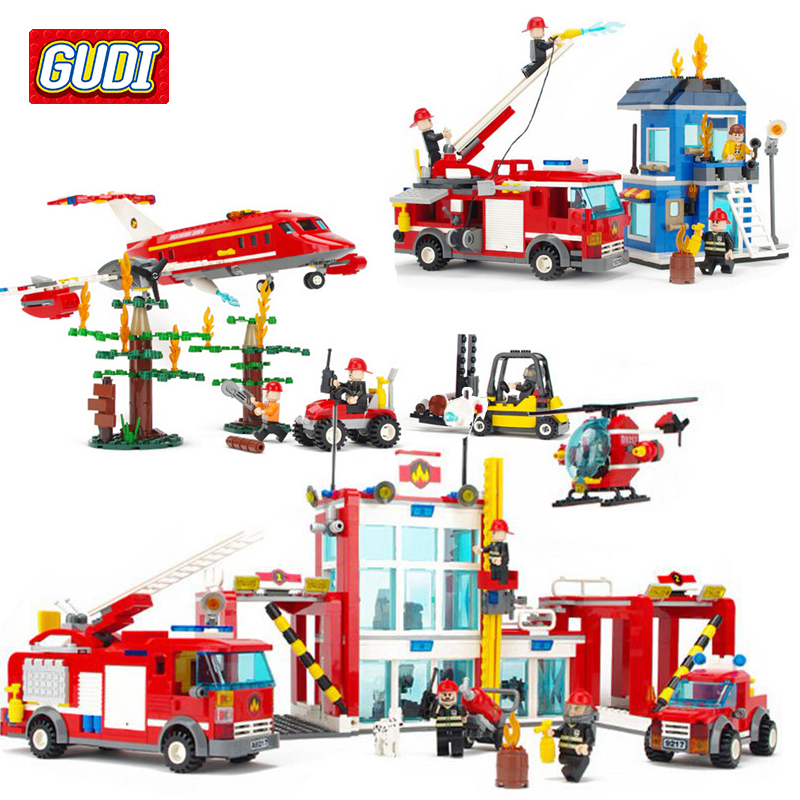 GUDI Fire Rescue Blocks Toys for Children Assembled Fire Administration Building Kits Kids Boys Educational Bricks Toys Juguete<br>