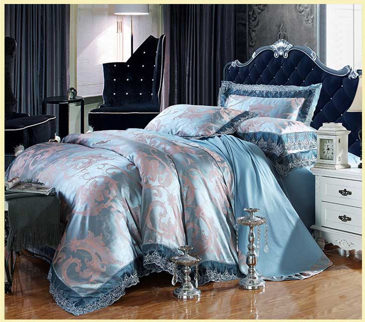 Embroidery Tencel Silk 4pcs Bedding Sets Queen King size Satin Jacquard sleeping bags duvet covers set flat sheet bedclothes(China)