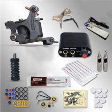 Pro Complete Tattoo Machine Kit Set 1Pcs Coil Tattoo Machine Gun Power Supply  Needles Grips Tips Footswitch For Tattoo Body Art