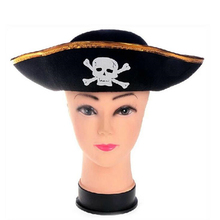 DoreenBeads Handsome Pirate Captain's Hat Skull Printed Show Props Adults Make-up Dance Party Props Christmas Halloween Supplies(China)