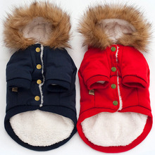 Buy Thicken Puppy Warm Jacket Fall Winter Dog Coat Horn Button Outfit Pet Clothing Faux Fur Neck Dogs Clothes Pets Supplies for $13.28 in AliExpress store