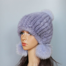 2016 Genuine real natural knitted Mink Fur Hat Cap women hand made Fashion  Winter Headgear