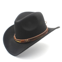 Women's Men's Woo Hollow Western Cowboy Hat for Winter Autumn Fashion Belt Size 56-58CM Cowgirl Jazz Toca Sombrero Cap(China)