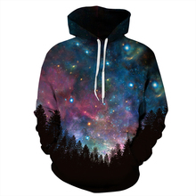 2016 Women Sweatshirts Night Starry Sky Digital Print Hooded Hoodies O-Neck Pullovers Spring Autumn Coats Couple Clothes Jumpers