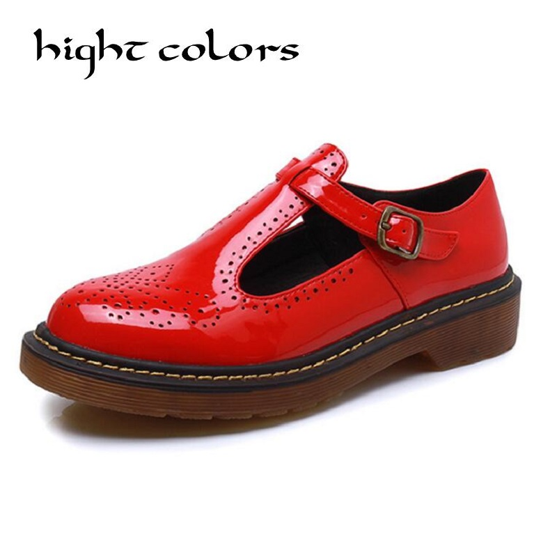 New Fashion Spring Autumn Shoes Woman Retro Vintage T Strap Mary Janes Brogues Oxfords Shoes For Women College Flat Casual Shoes<br>