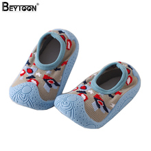 Beytoon Spring Newborn Baby Socks with Rubber Soles Non-Slip Room Shoes Socks for Kids Toddler Boys First Walking Slipper(China)