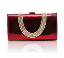 2016 Top Selling Burgundy Banquet Evening Bag Women Zircon Handbag Clutch Birthday Gift Party Purse Makeup Bag Bolso 12030A(China)