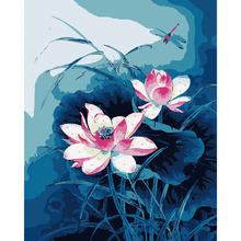 Frameless Pond Lotus Chinese Oil Painting By Numbers On Canvas DIY Modular Pictures By Numbers Coloring Wall Art For Living Room