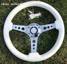14'' 350mm universal vintage classic white wood auto racing car bus steering wheel with horn button, handmade(China)
