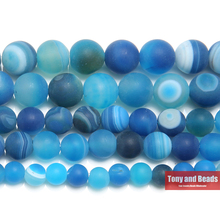 "Free Shipping 15"" Natural Stone Frost Grind Arenaceous Blue Stripe Agates Onyx Round Loose Beads 6 8 10 MM Pick Size(China)"