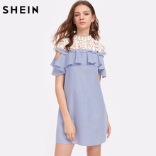 SHEIN Floral Crochet Shoulder Open Shoulder Flounce Dress Color Block Short Sleeve Cut Out Casual Women's Dresses