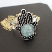 free shipping 6pcs/lot Hamsa ring fashion accessories fatima married vintage ring fatima hand ring evil eye rings  17mm