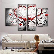 Painting Wall Art 4Pieces Heart Tree Artwork For Living Room Home Hotel Decoration Top Quality Framed Ready to Hung