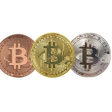 Gold/Silver BitCoin Replica Art Collection Gift Physical Metal Antique Imitation Non-currency Copy Coins Collectibles(China)