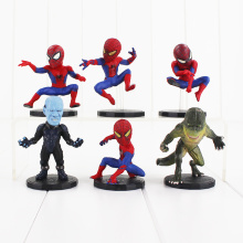 6pcs/lot Marvel Superhero Spiderman Figure Toy Cool Spider Man Lizard Electro The Amazing Spider-Man Mini Model Dolls