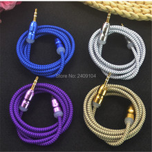 wholesale 500pcs/lot Braided AUX 3.5mm Audio Car Extention Cable wire Auxiliary Stereo Jack Male 1m For Iphone6 5 For Ipod