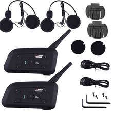 2 Sets V6-1200 Motorcycle Bluetooth Headset / Intercom 1200M Range Hands-free Interphone Helmet Headset Black for Six Motorcycle(China)