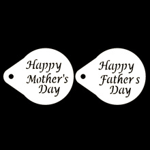 2Pcs/Lots 2.8 Inch Fathers Day Figure Coffee Decorating Stencils Cookie Latte Cake Mould Decor Barista Duster Bakeware Tools