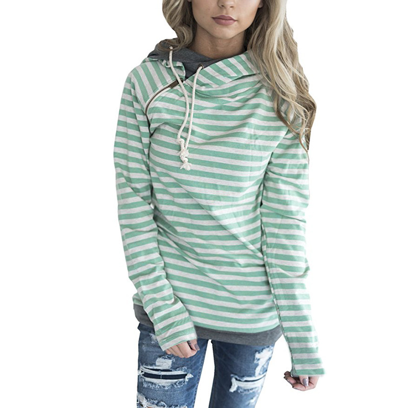 New Double Hood Sweatshirt, Women's Long Sleeve, Side Zipper Hooded Casual Pullover 53