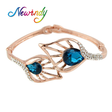 Newindy Rose Gold Color With Blue Crystal Leaf Cuff Bangles&Bracelets Fashion Bijouterie For Elegant Women(China)
